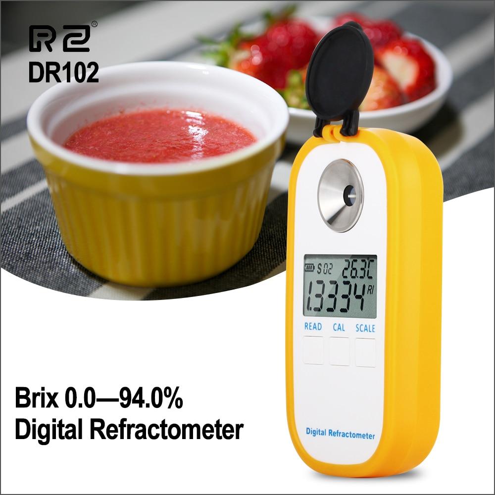 RZ Digital Refractometer LCD Display 0.0~94.0% Brxi Fruit Juice Sugar Meter Refractometer DR102