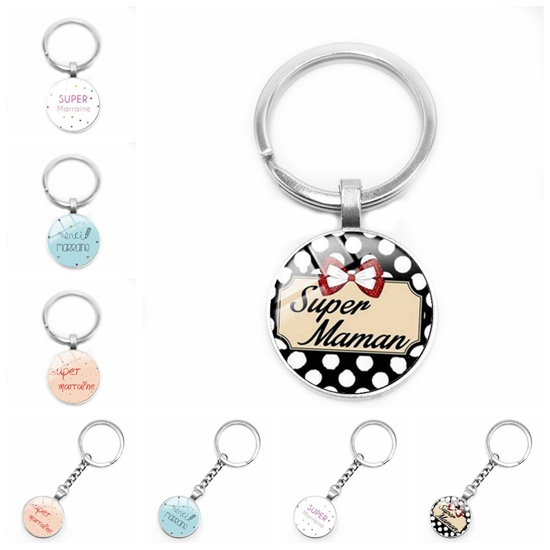2020 New Super Godmother Godfather Keychain Glass Convex Je Suis Une Maman French Word Pendant Keychain Gift недорого