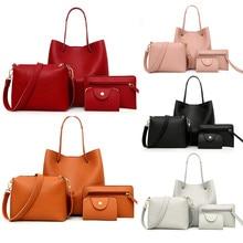 4 Uds. Bolso para mujer, bolso bandolera, bolso cartera para mujer, bolso de cuero PU para mujer, bolso para mujer, nueva moda, Envío Directo/E