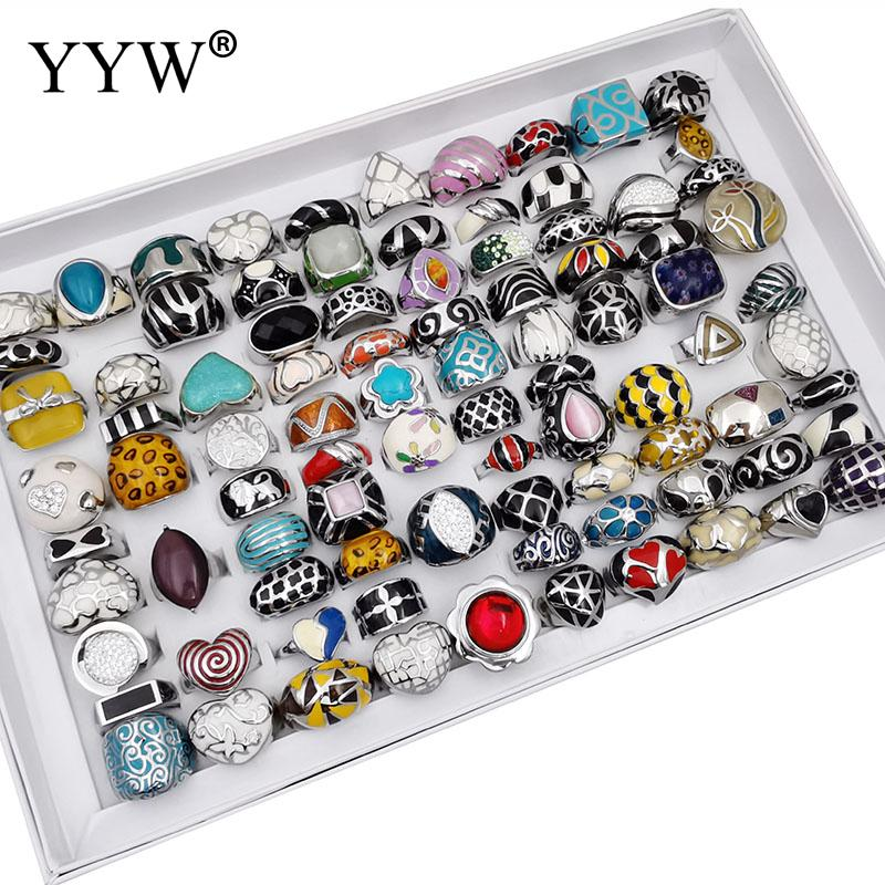 Wholesale 100PCs/Box Titanium Steel Ring Set Unisex Ethnic Woman Men's Fashion Party Finger Rings for Anniversary Jewelry Gift