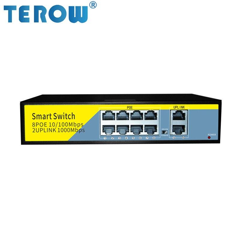 terow poe gigabit ethernet switch 52v com 8 port poe 2 uplinks para ap sem fio ou