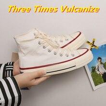 Woman Vulcanize Shoes Canvas Casual Three Times Vulcanize 2021 Summer High Top Walking Flats Women's
