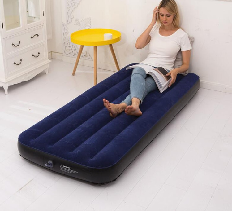 lazy inflatable bed home new air single two people both use black wave flocking bed factory creative home wholesale air soa beds Flocking Inflatable Bed Air Bed Folding Sofa Bed Air Cushion Portable Outdoor Camping Mattress Lunch Break Bed