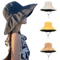 summer casual sun hats women wide brim foldable vinyl bucket hat ladies anti uv flat fisherman cap panama beach travel caps