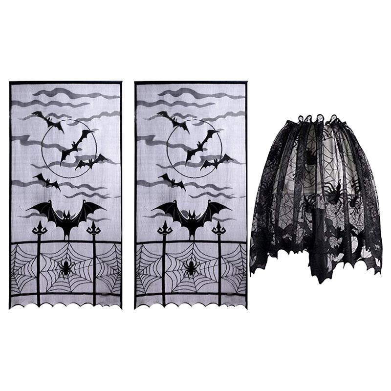 3 unids/set Encaje de Halloween cortinas de ventana tela araña murciélagos puerta cortinas pantalla Panel decoración para fiesta (negro)