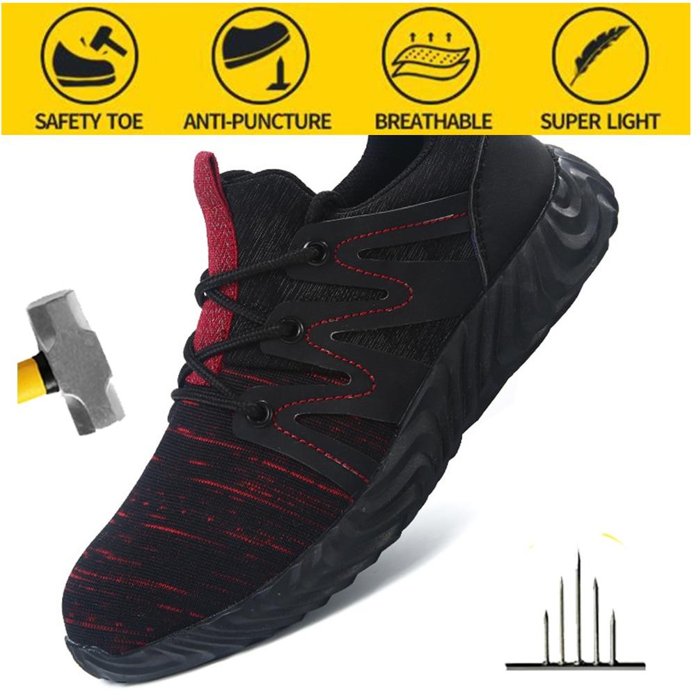 جديد خفيفة الوزن و تنفس سطح أحذية أمان الرجال رياضية غير رسمية كبيرة الحجم مكافحة تحطيم سلامة حماية أحذية عمل