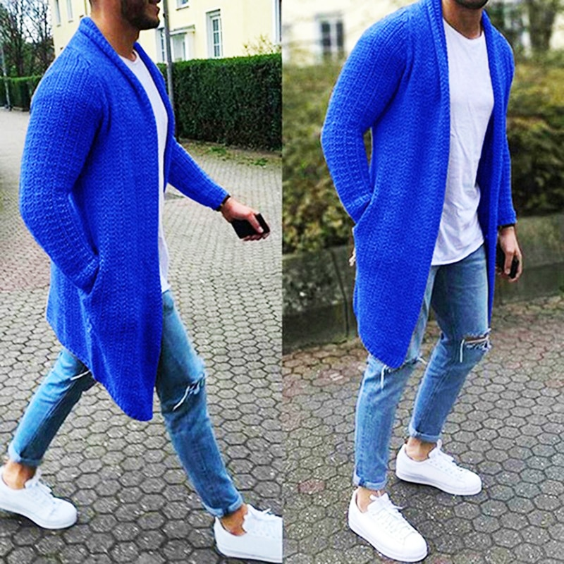 Men's Wool Cardigan Spring Autumn Warm Thick Solid Spacious Pocket Fashion Long Sweaters Knitted Cotton Casual Male Jackets