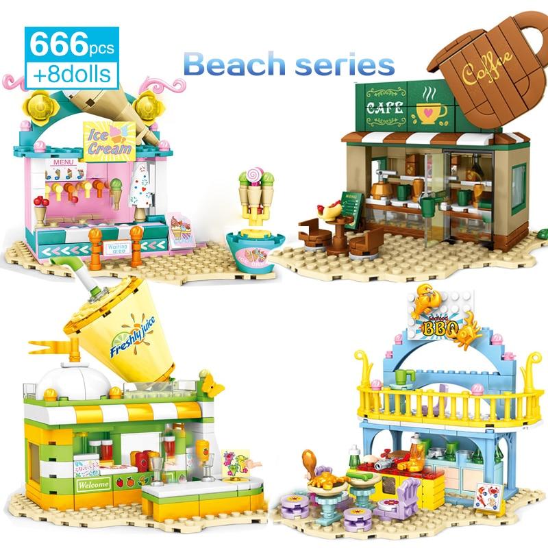 Девочка в виде улиц пляжные серии строительный блок Мороженое магазин кофе барбекю магазин Напиток Магазин FiguresToys для Детский подарок