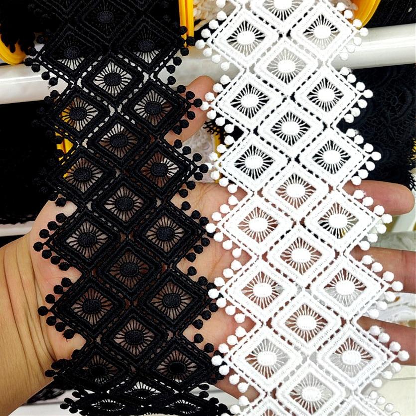 Pom Pom Geborduurde Kant Lint 75 Mm Breed Zwart Wit Hollow Out Diy Wedding Naaien Stof Kant Voor Jurk Kleding decoratie