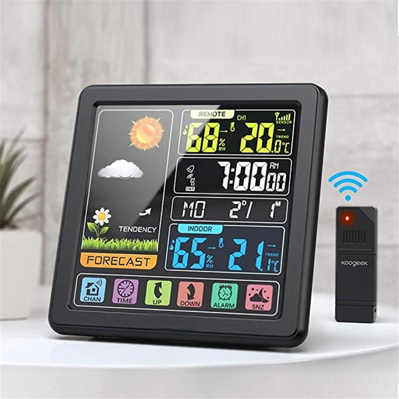 TS 3310 Weather Station Indoor Outdoor LCD Wireless Sensor Thermometer Hygrometer Digital Alarm Clock Barometer Forecast Color