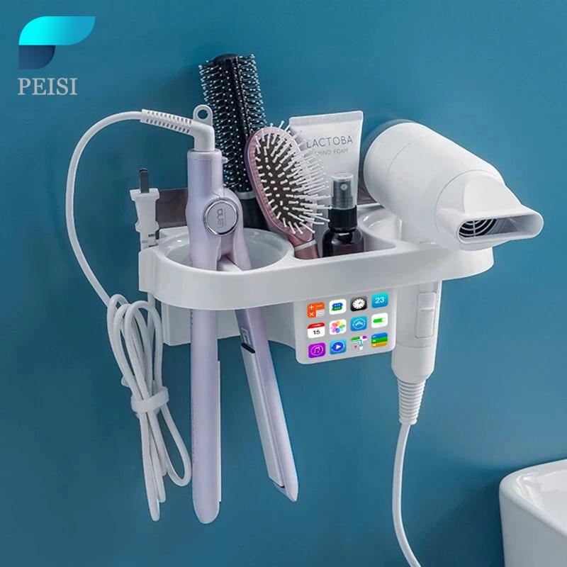 PEISI Hair Dryer Holder Curling Iron Shelf For Bathroom Shelf Organizer Storage Rack Hair Straighten