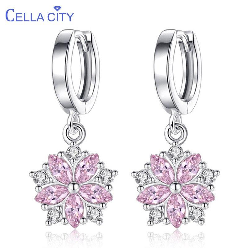 Cellacity recién llegados diseño de lujo plata 925 joyas pendientes de piedras preciosas para mujeres en forma de flor gotas para los oídos estudiante citas regalo