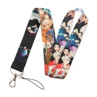 pf428 dongmanli japanese anime cute print keychain lanyards for keys id card straps hanging rope lariat students badge holder