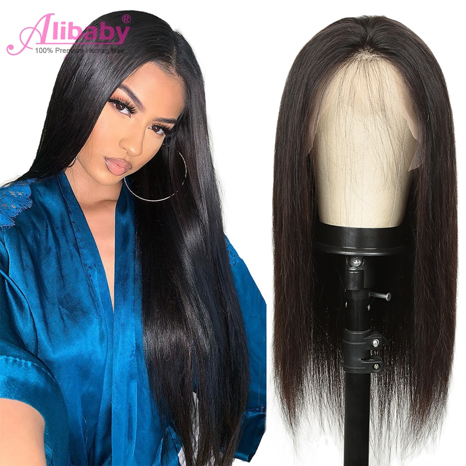 Brazilian Human Hair Wig 16-28 Straight Lace Front Wigs 150% Bone Straight Human Hair Wig Remy 4×4 Closure HD Transparent Lace