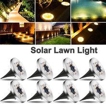 8Leds Outdoor Waterdichte Rvs In Grond Zonne-energie Lichten Loopbrug Gazon Solar Schijf Led Solar Grond Lichten
