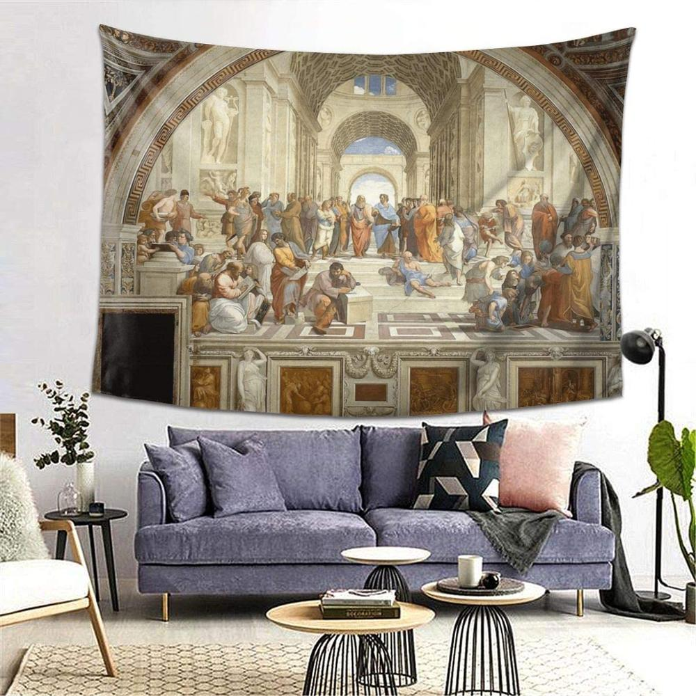The School of Athens Italian Renaissance Raphael Art Tapestry Party Decoration Banner Garland Event Banner and Home Decoration