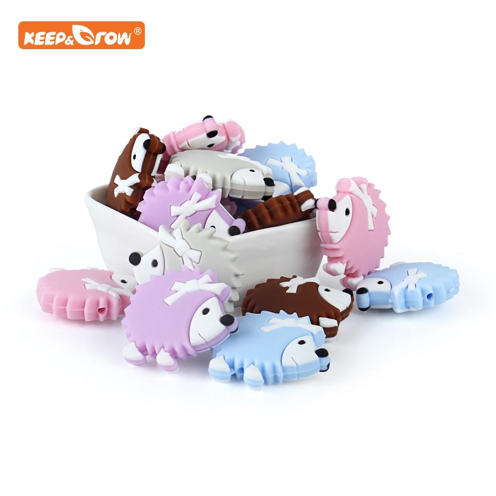 Mantener y cultivar 10 Uds. Cuentas de silicona erizo productos para bebés juguetes de dentición para hacer joyas DIY cuentas de silicona sin BPA