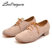 Ladingwu Mens Suede Ballroom Dance Shoes Flats Modern Dance Shoes Light Brown Tango Party Wedding Square Dance Shoes