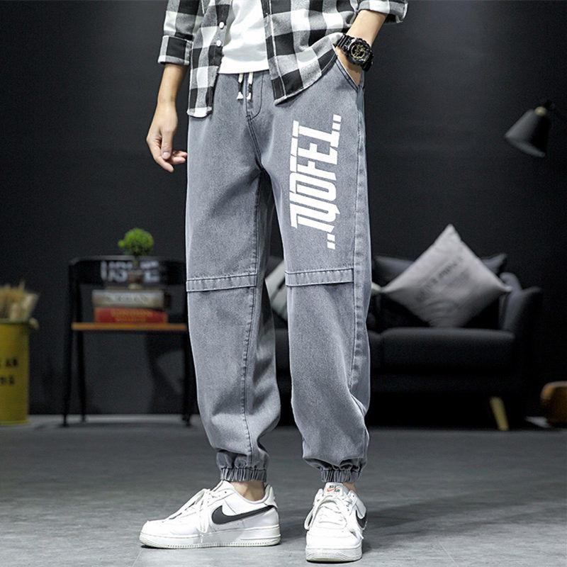 Джинсы-карго в японском стиле с надписью, мужские брюки-карго, осенние брюки с ремешком на щиколотке, мужские джинсы с широкими штанинами, си...