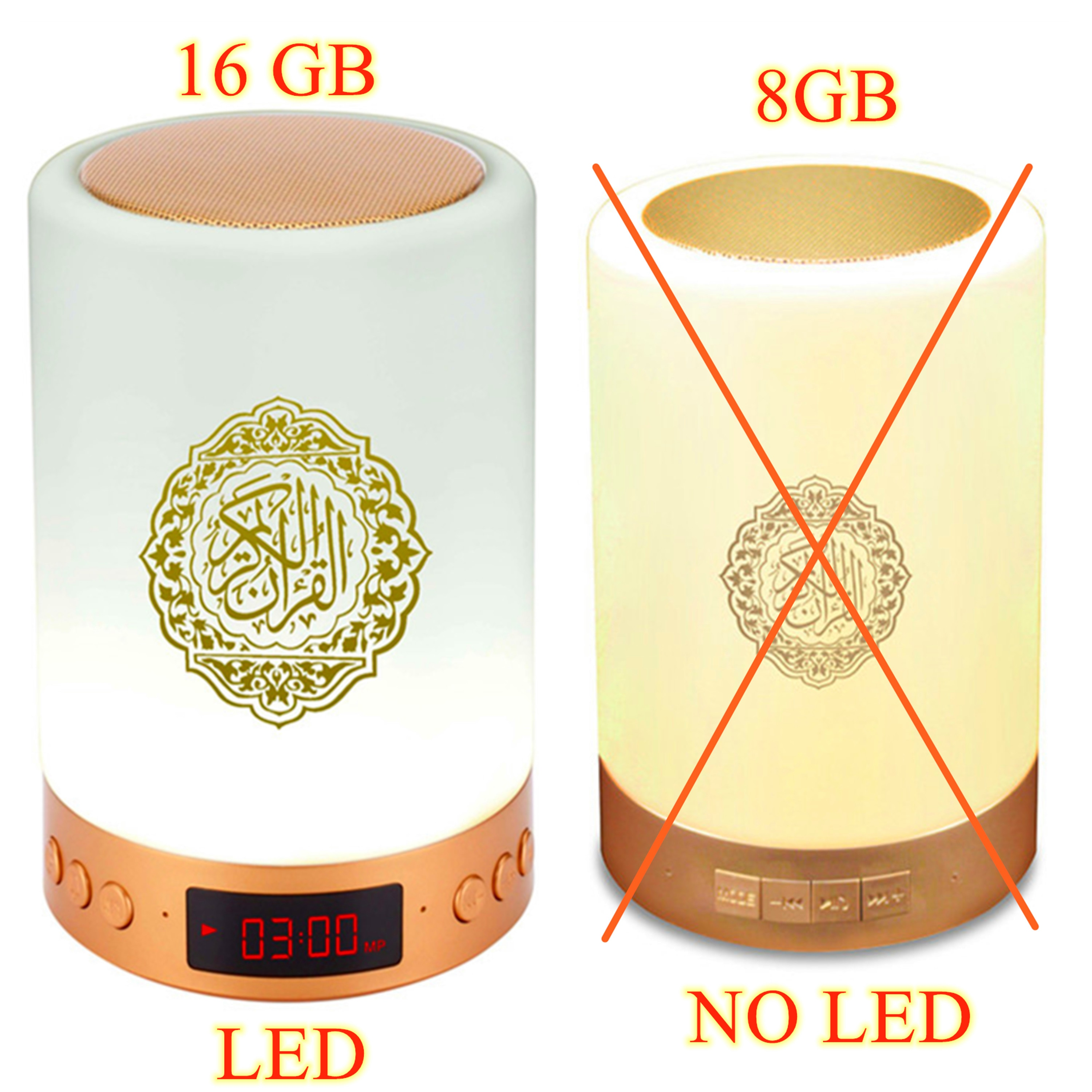 Bluetooth Quran Speaker Personalized Night Light With Athan Clock Muslim Kids Gift Mp3 Koran Player Veilleuse Coranique