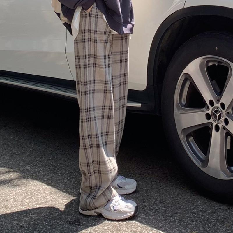 Женские брюки в клетку с высокой талией, весна-осень 2021, новая Корейская версия, облегающие и широкие брюки, прямые повседневные