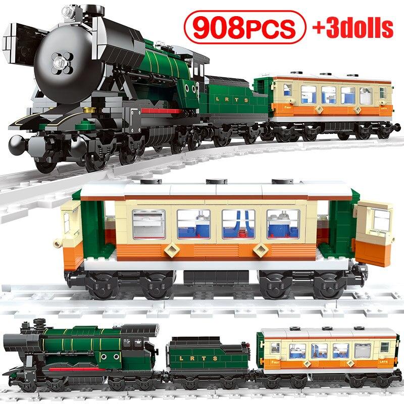 DIY Dream pociąg kolejowy klocki dla miasta tor kolejowy transport figurki cegły zabawki świąteczne dla dzieci