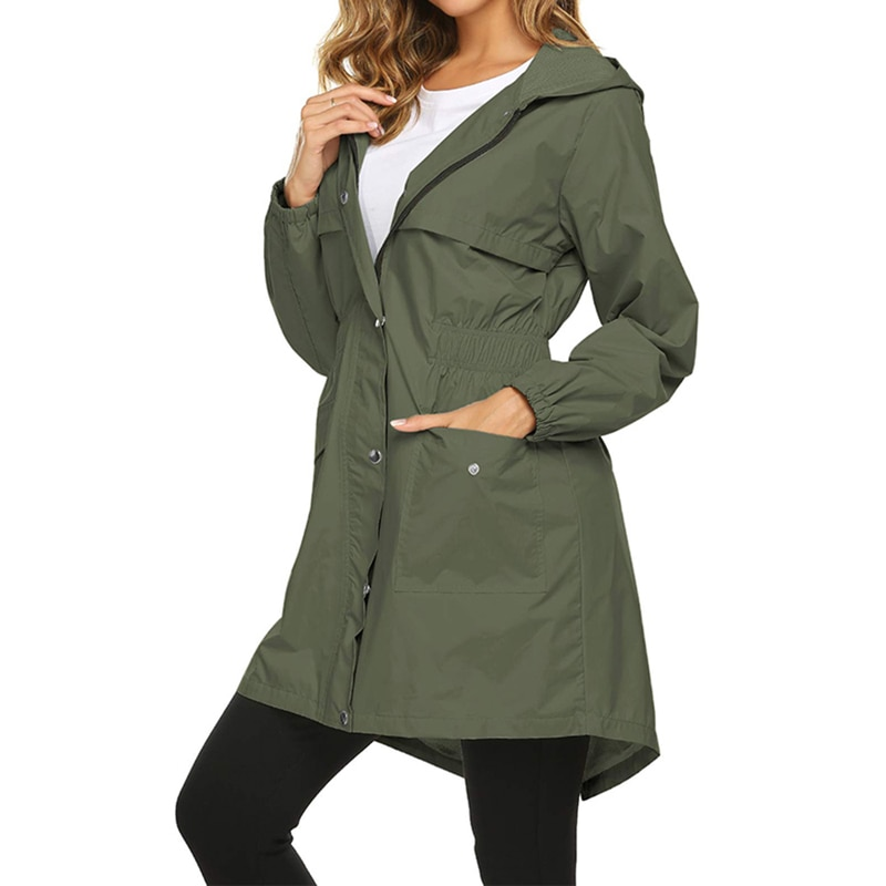 ¡Otoño e Invierno 2019! Abrigo de lluvia para mujer, chaqueta impermeable largo y ligera con capucha para exteriores, chaquetas de lluvia transpirables, chaquetas impermeables