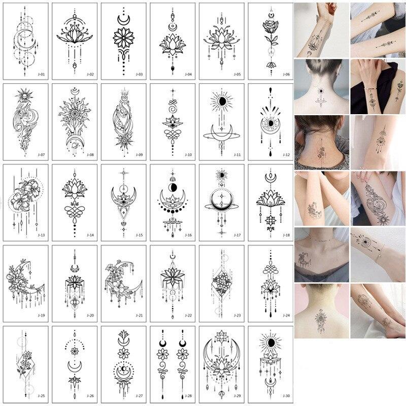 Tatuajes Temporales para mujer, tatuaje falso Sexy para manos, brazo y cuerpo, Tatuajes Temporales impermeables, 30 unids/set por Set