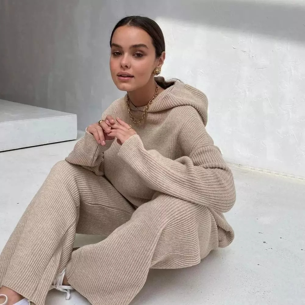 Knitted Sweater Winter Hooded Long Sleeve Hoodie High Waist Drawstring Pants Two Piece Set Woman Sweaters Suits женские свитера