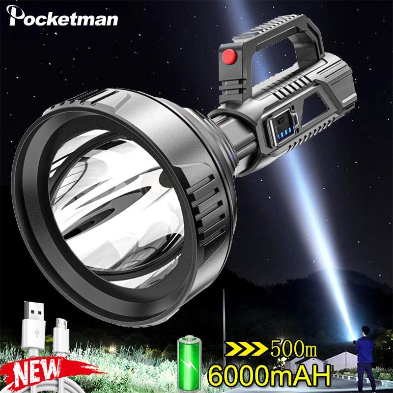 Суперъяркие светодиодсветодиодный портативные прожекторы, тактический фонарь 500 м, фонарик для кемпинга, велосипедный прожектор, подходит ...