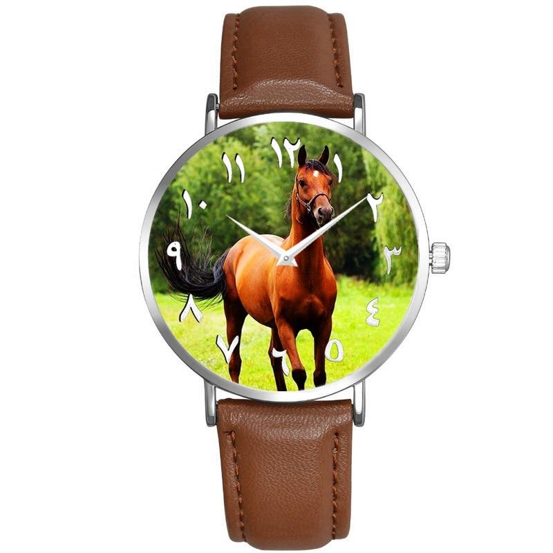 2021 New Horse Watch Simple Arabic Numerals Men'S Watches Brown Strap 2 Pointer Quartz Movement Wrist