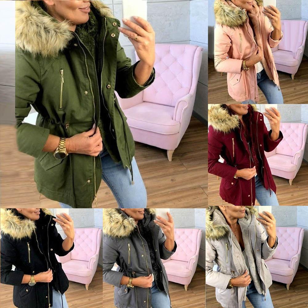 Autumn 2019 New Basic jackets Female Women Winter Plus Velvet  Hooded Coats Cotton Winter Jacket Womens Outwear Coat New Jacket