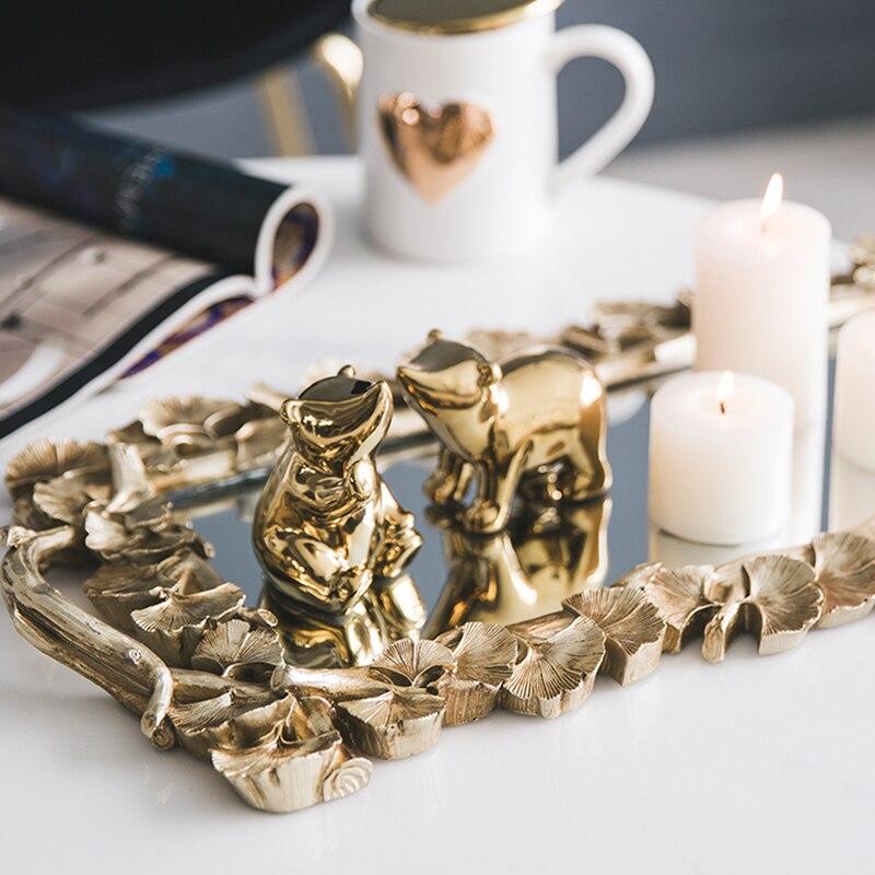 Bandeja de espejo de oro tallado Vintage nórdico, taza de té de comida de frutas, caja de almacenamiento de lujo para el hogar, bandeja de exhibición para collar de joyería, decoración del hogar