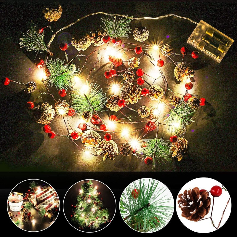Декоративные светодиодные огни, сосновые огни, гирлянда, светодиодная гирлянда, сказочные огни, Рождественское украшение, украшение для са...