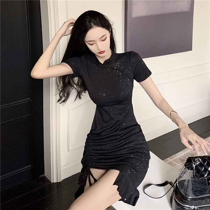 Products in Stock New Retro Drawstring Temperament Waist-Controlled Slimming Flounce Improved Dress