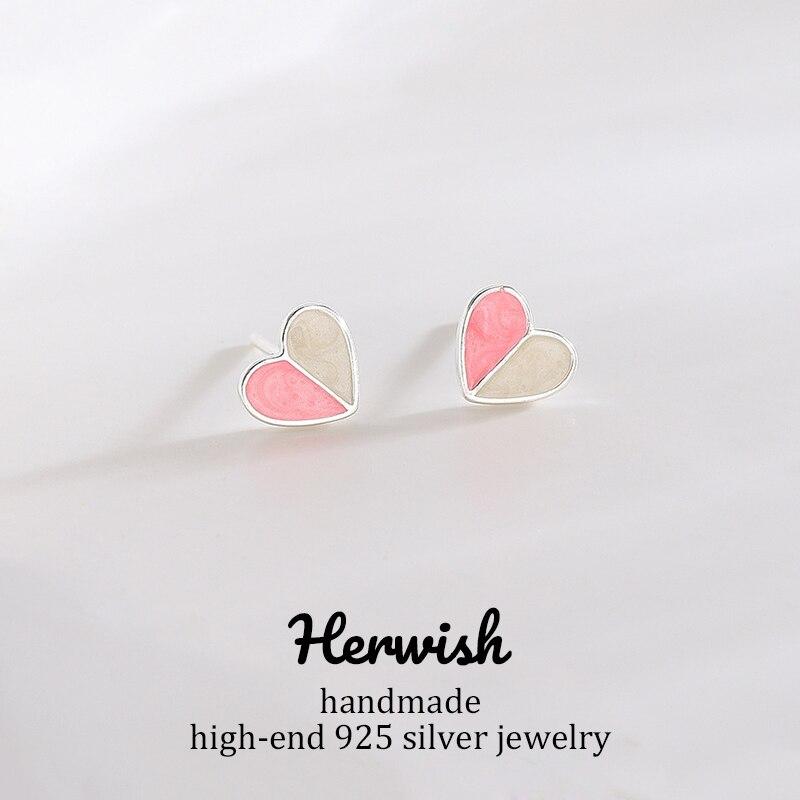 Herwish brincos para mulheres bonito coração rosa azul artesanal moda jóias 925 prata esterlina origem design lollipop série