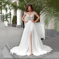 simplicity wedding dresses chiffon with floor length v neck sleeveless bride gowns button backless lace plus size vestido de no