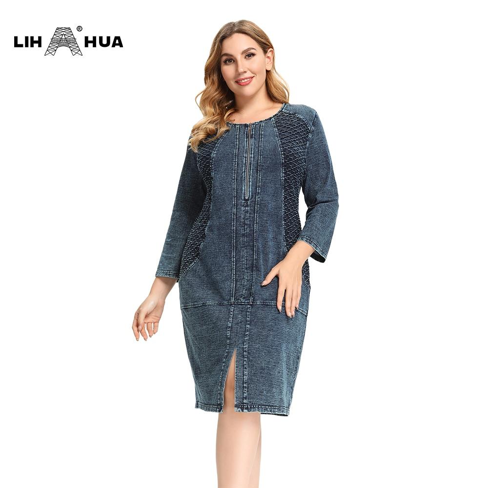 LIH HUA abito in Denim taglie forti da donna abito Slim Fit ad alta flessibilità abito in Denim lavorato a maglia Casual Denim a squame di pesce