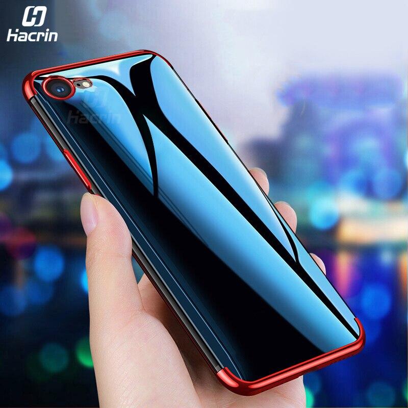 Funda de teléfono para iPhone SE 2020, carcasa suave de TPU transparente, cubierta trasera chapada para iPhone SE2 SE 2, carcasa protectora completa de 4,7 pulgadas