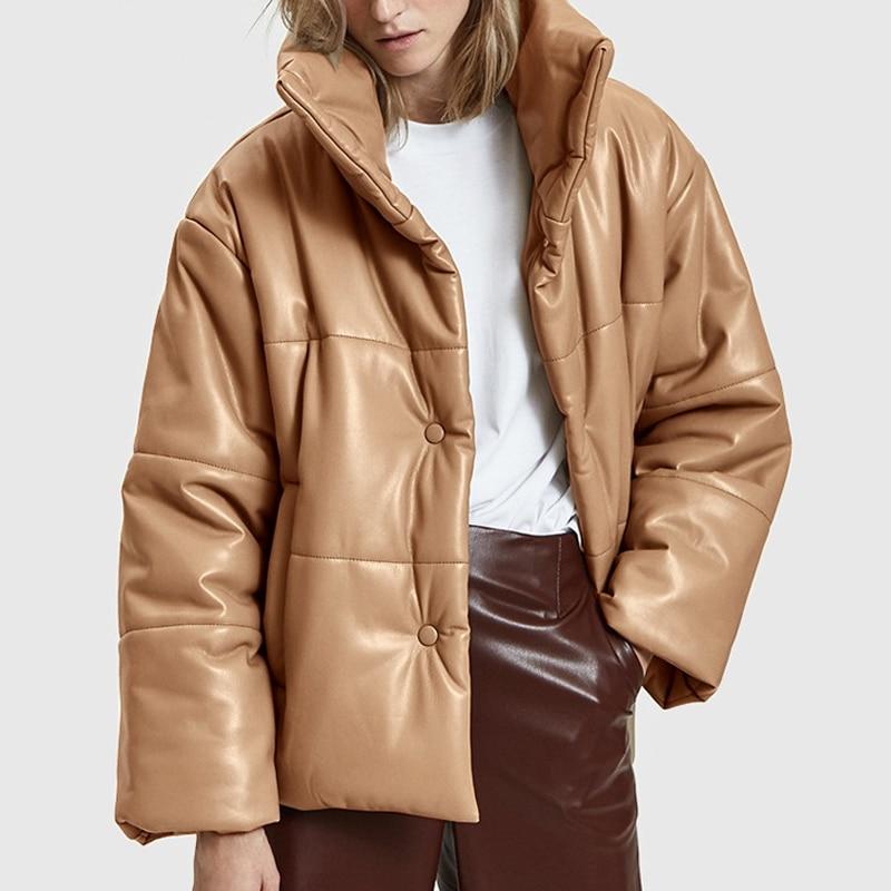 Куртка-Парка женская из искусственной кожи, однотонная Модная элегантная Толстая хлопковая, из искусственной кожи, C19, 2021