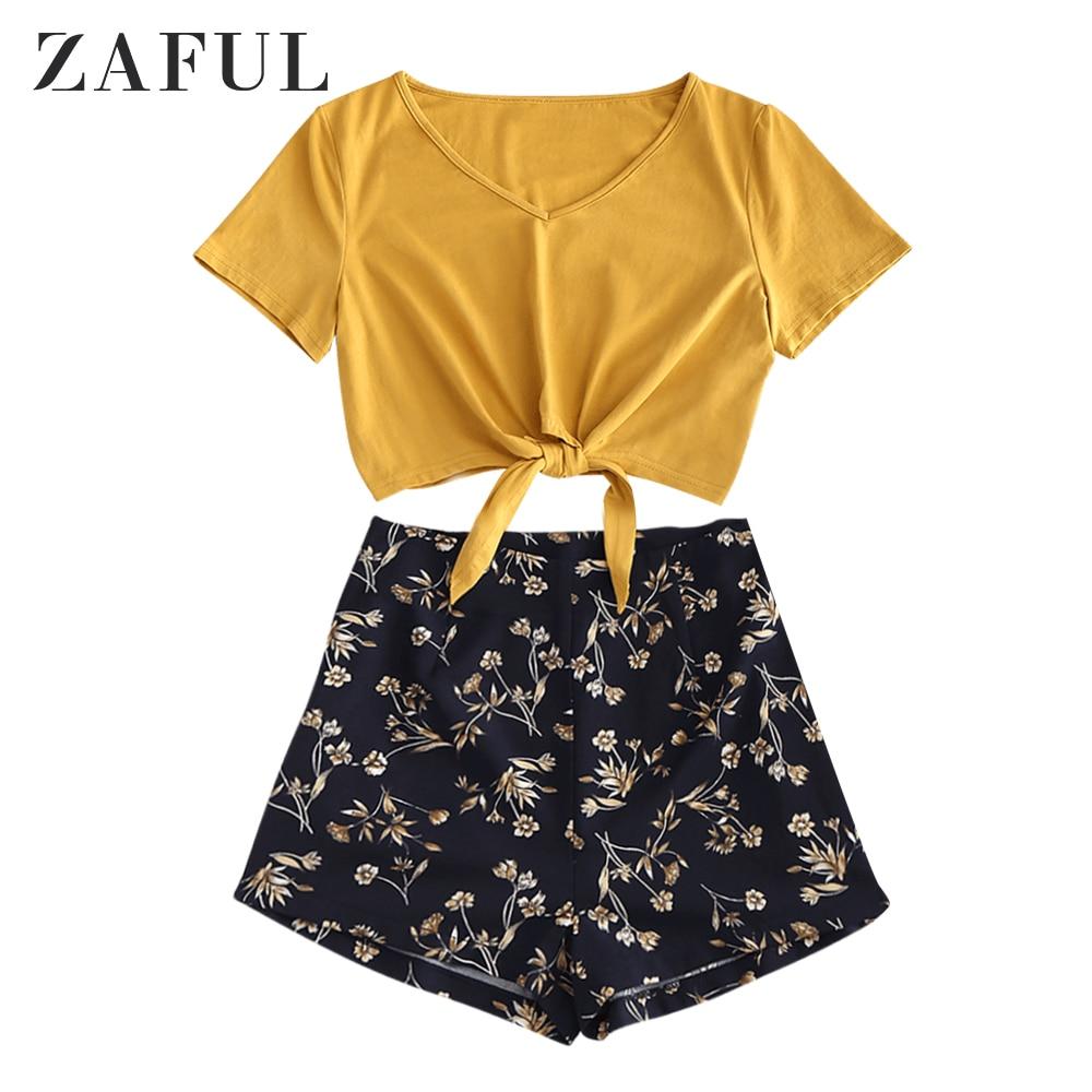 Juego de pantalones cortos con flores y escote en V de ZAFUL Tie Hem