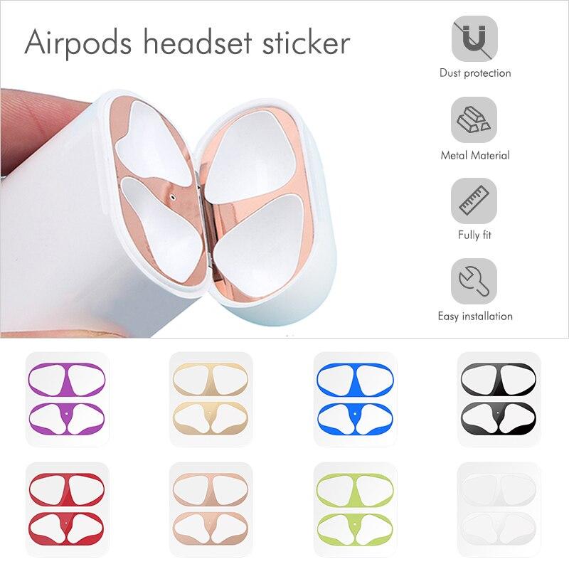 Пыленепроницаемая царапинам наклейка для AirPods 1 2 наклейка защита от пыли Защитная пленка для наушников для Apple AirPods 2 1 крышка наклейки