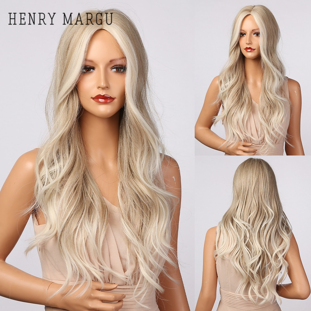 HENRY MARGU Long Wavy Platinum Blonde Ombre Synthetic Wigs Natural Wigs for Women Middle Part Cosplay Party Wigs Heat Resistant