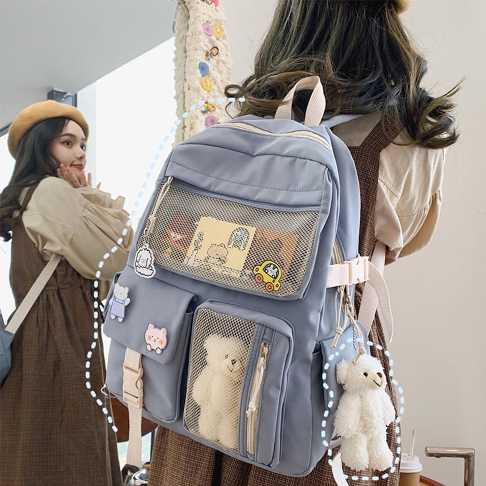 New Buckle Badge Women Backpack Candy Color Fashion Cute Schoolbag Shoulder Student Bag Teenage Girl