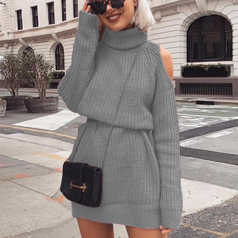 Autumn Winter Womens Turtleneck Sweater Knitted High Collar Strapless Shoulder Dress Pullover Slim Jumper Women