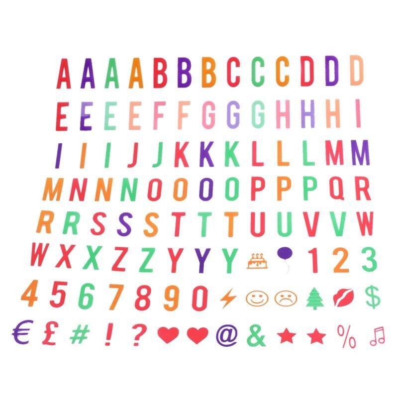 Carta e símbolo pacote para a4 cinematic light up sign box cinema led carta lâmpada (104 multicolorido letras e símbolos)