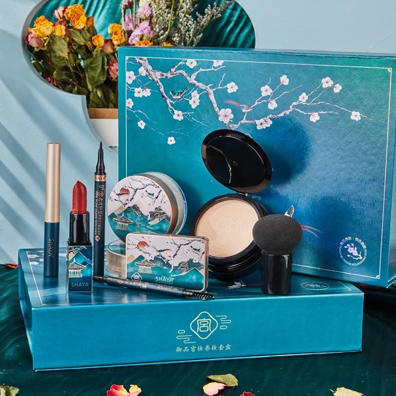 Rosemary Makeup Set Carved Lipstick Concealer Makeup Loose Powder Eyebrow Pencil Eyeliner  Eyeshadow Kit  Brush Set09
