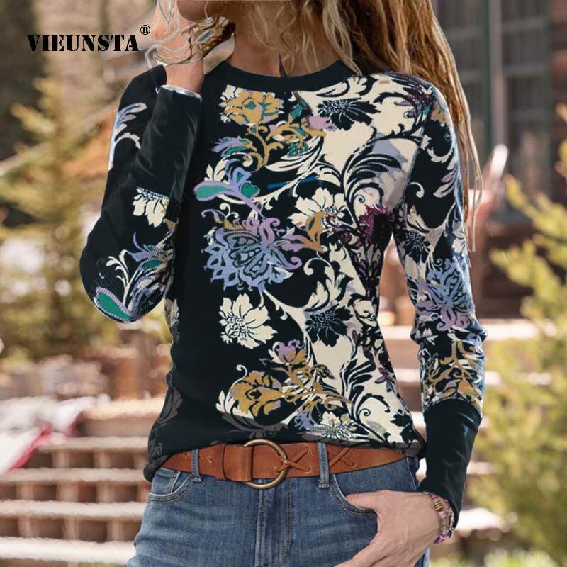 Elegante primavera o pescoço harajuku blusa camisas moda manga longa outono magro básico camisa casual floral impressão feminina pulôver topos