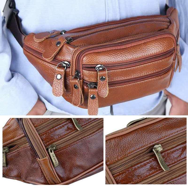 Tragbare herren Vintage Leder Taille Tasche Zip Tasche Aus Echtem Leder Pack Lässige Funktions Geld Telefon Zigarette Gürtel Männlichen Tasche