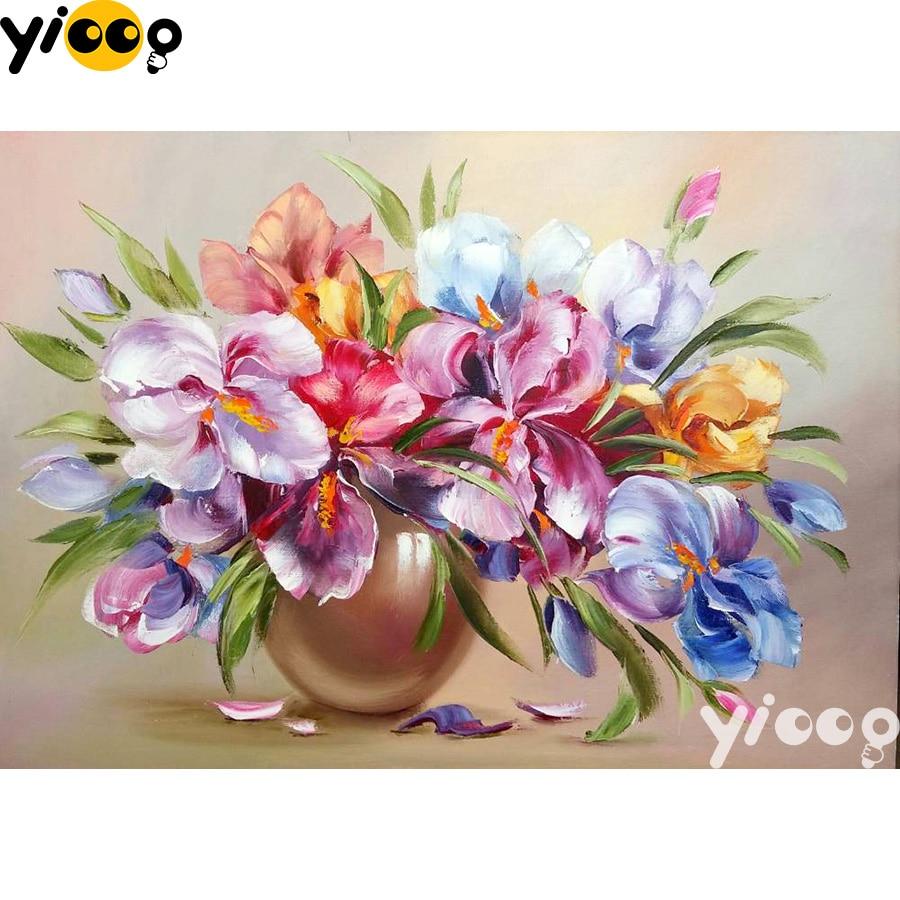 Алмазная вышивка, алмазная живопись, цветы в вазе 5D, алмазная вышивка, стразы, мозаика, украшение BX1202